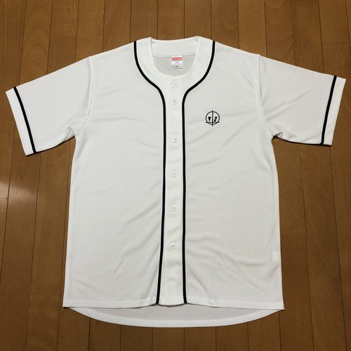 "【SALE】""Logo"" Embroidered Baseball Shirt White/Navy"