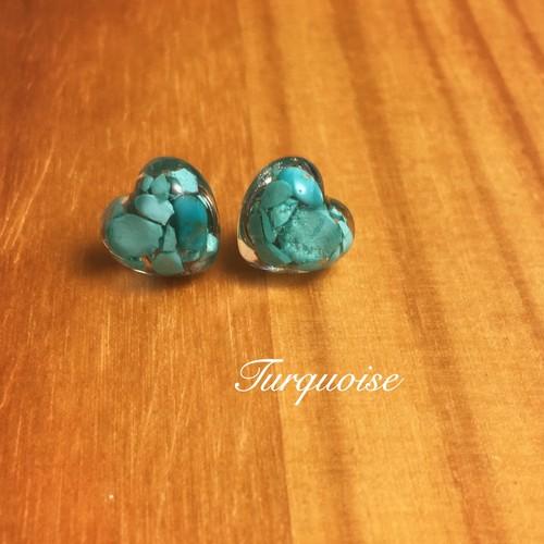 ターコイズ 原石♦︎ハート型 ピアス/イヤリング