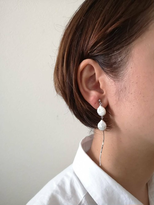 変形淡水pearl×wave barイヤリング