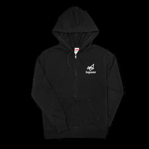 Sapsan・logo Black zipper hoodie Parker 4size