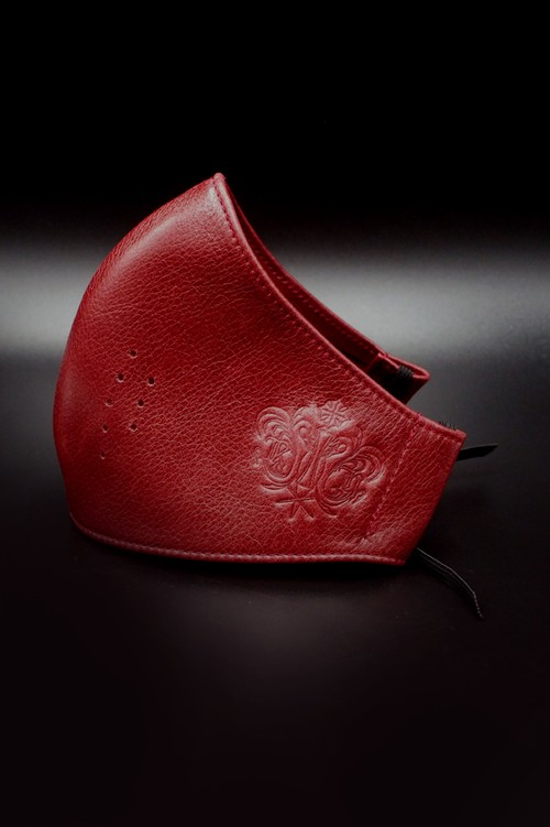 Item No.0396:RH Smooth Back Leather Surgical Mask/Atelier mark/RED