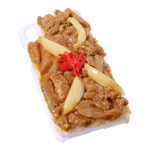 [8098]食品サンプル屋さんのスマホケース(iPhoneX:牛丼[ホワイト])【メール便不可】