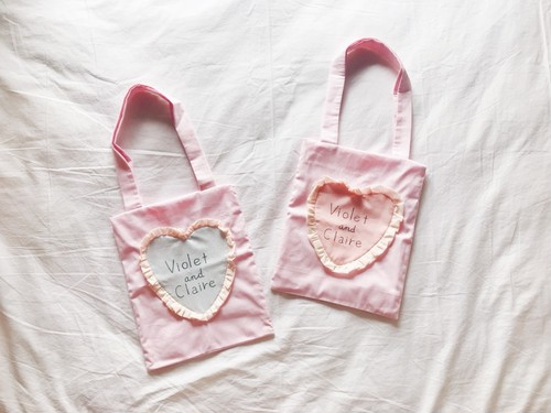V&C x hopea - Heart Frill Totebag (Pink Stripe)