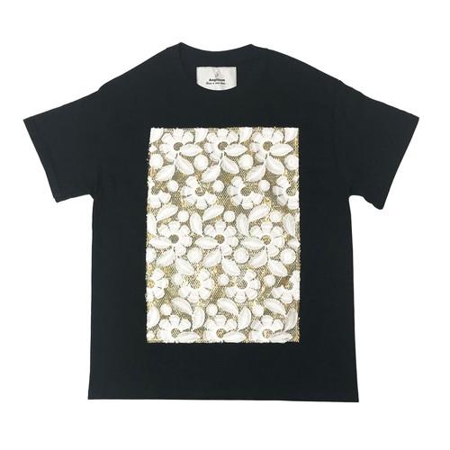 Flower lame tulle T-shirt Black