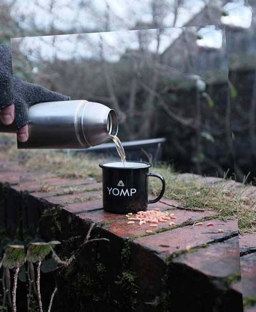 YOMP Enamel Cup With Our 'Super Yomponneuring' Pin Badge And Woven Patch!