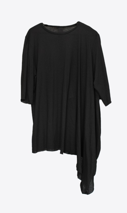 【Atelier Aura/アトリエアウラ】Eyrun draped shoulder tee (BLK)