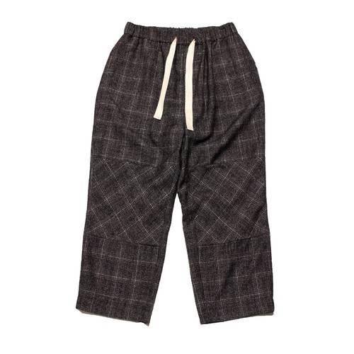 Enharmonic TAVERN  Wide Easy Pants Wool Bright Boucle Check -black <LSD-AH3P1>