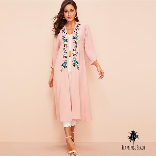 【FlamingoBeach】pink coverup 刺繍ガウン 67275