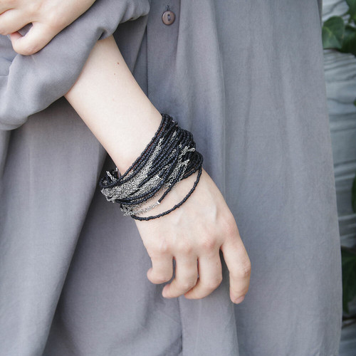 wooden beads and steel chain / Bracelet