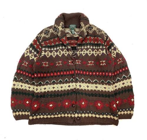 LAUREN RALPH LAUREN native柄 Shawl color Knit Jacket