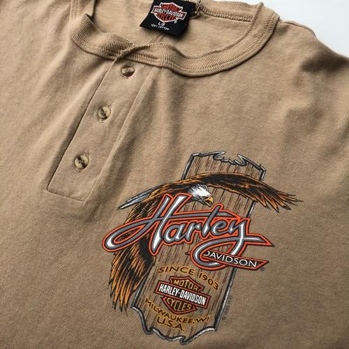 90's 1995年製 ハーレーダビッドソン ビンテージTシャツ Lサイズ ベージュ イーグル ロンT ヘンリーネック