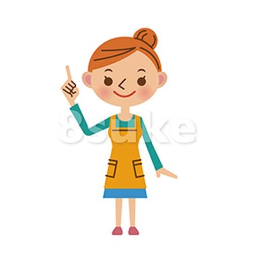 イラスト素材:指差しをするエプロン姿の主婦(ベクター・JPG)