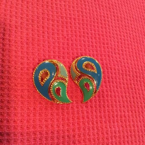 blue×green design earring [B1972]