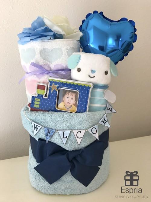 【ブルー】WELCOME ガーランド付きおむつケーキ♡ ラッピング込 ブルー 出産祝い ベビーシャワー ギフト ガーランド