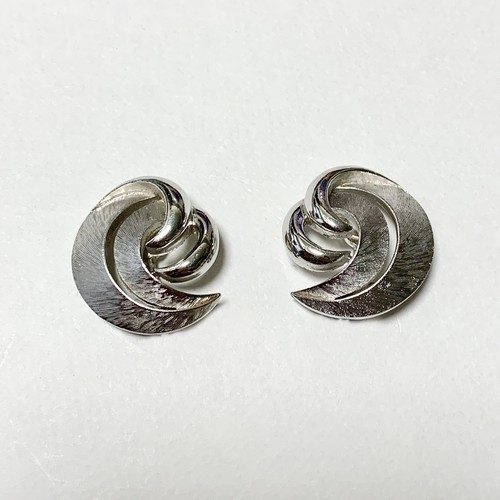 Vintage Trifari Silver Tone Modernist Design Earrings ②