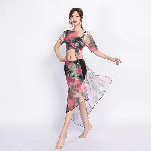 セクシーオリエンタルダンス衣装女性ベリーダンス衣装カラフルな印刷トップスプリットスカートジプシー服インド練習着 2 セット