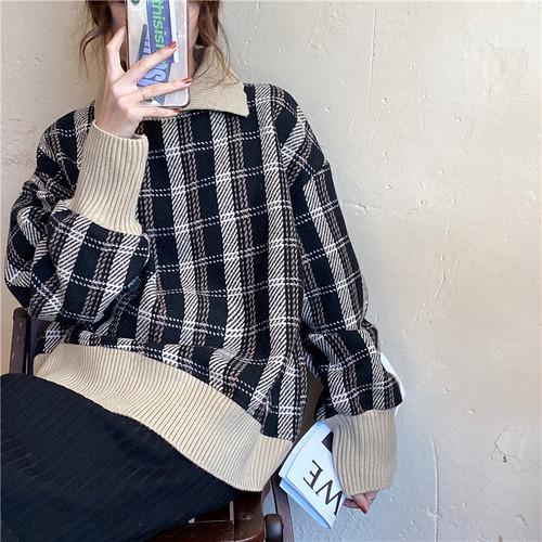 【トップス】韓国系レトロ配色通勤チェック柄パーカー