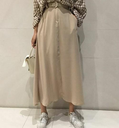 【送料無料】ふんわりAライン♡ レトロ シック シンプル ロング スカート ベルト付き フェミニン くすみカラー