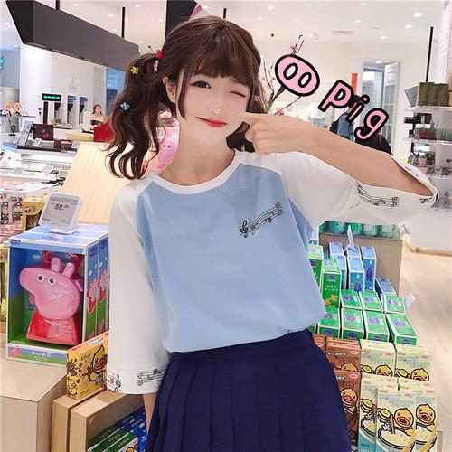 【トップス】キャンパス学園風春夏半袖ラウンドネックTシャツ
