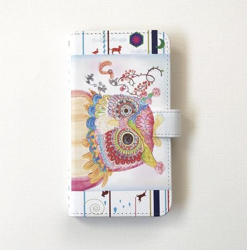 Lサイズ マルチ携帯ケース 赤フクロウ