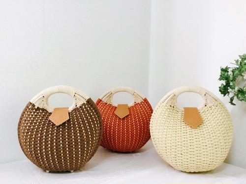 まんまる かごバッグ 丸形がかわいい☆クラッチバッグとしても♪・全3色