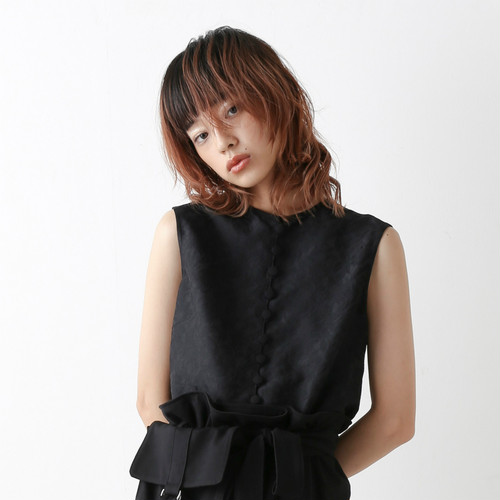 Covered button blouse - Black