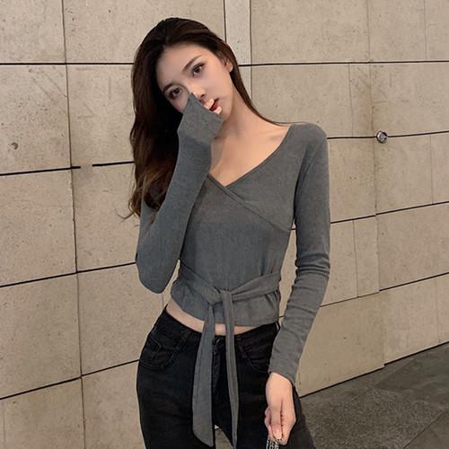 【トップス】ファッション切り替えVネックTシャツ26845305