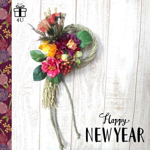 【2019お正月】お正月お飾り✳︎縁起の良い椿を使用したお正月飾り✳︎ ピンク 紫 しめ縄飾り しめ縄 60