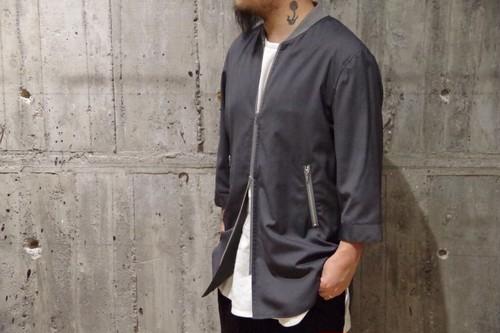 LiSS pinstripe MA-1 zip shirt coat