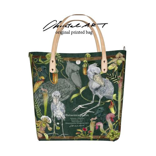 ◆受注生産◆デザイントートバッグ「ハシビロコウと食虫植物」柄