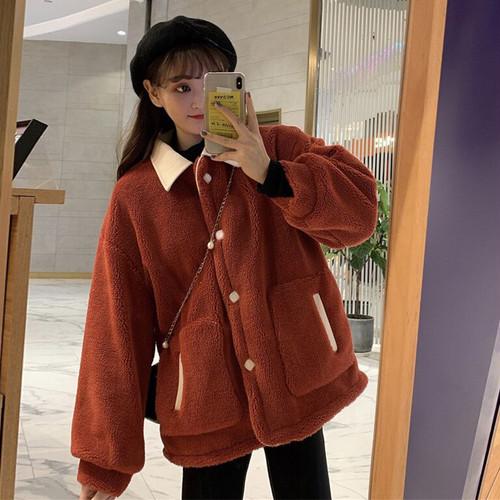 【アウター】ファッションレトロスウィート切り替え折襟配色カーディガン