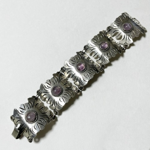 1940's Early Mexico Sterling Amethyst Link Bracelet