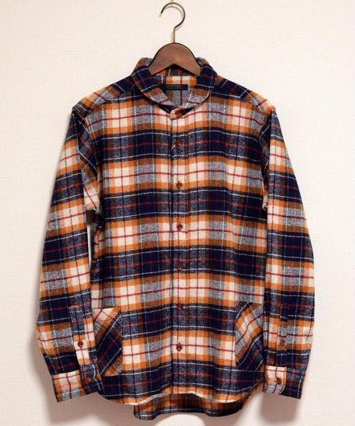 ガーデニングネルシャツ【modem design】ネイビー系