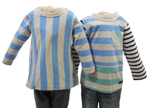 双子ベビー服2点セット★ミックスツイン 女の子七分袖ボーダーチュニック&男の子長袖切り替えボーダーTシャツ(水色)<17ss-mt004r-L>