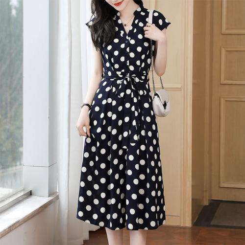 【dress】レトロドット柄フェミニン着瘦せベルト付きデートワンピース