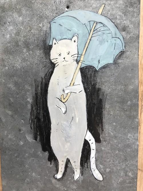 傘 猫 ブリキ絵