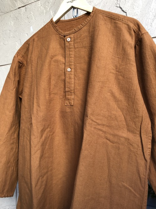 Russian military heavy weight sleeping shirts overdyed brown color