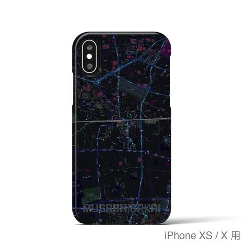 【武蔵境】地図柄iPhoneケース(バックカバータイプ・ブラック)