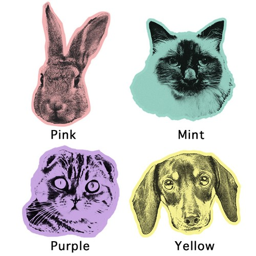 2 tone pop art illustration/Portraits of Dogs, Cats and Pets