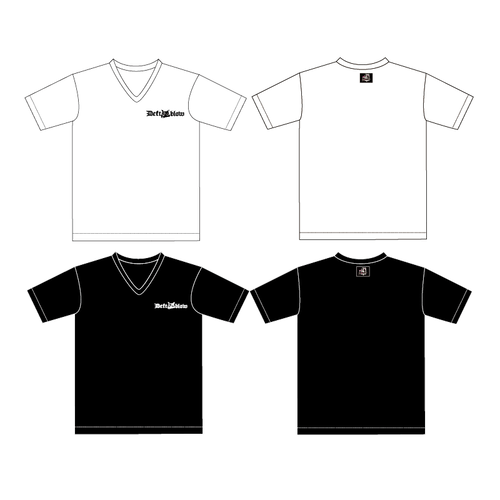 VネックTシャツ フクロウヘッドロゴ&フクロウタグ 白or黒