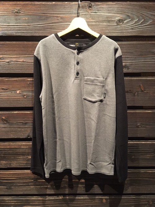 Green Clothing  LIGHT FLEECE HENLEY NECK chacoal/black Lサイズ