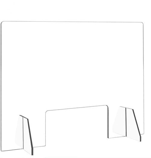 【送料無料・新品・最短翌日】PUTIAN 飛沫防止 アクリルパーテーション透明 W600*H400mm クリアパーテーション 窓付き デスク用仕切り板、ウイルス