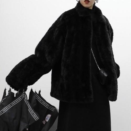 over size black fur jacket