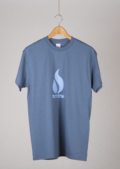 OUTFLOW - FIRE LOGO  T-shirt    Indigo / Light Blue