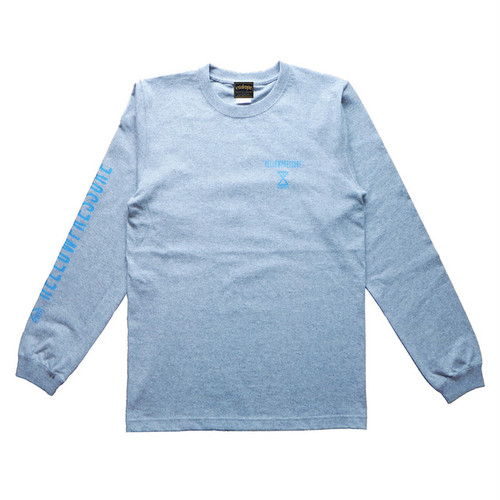 【HELLOWPRESSURE L/S tee】grey/blue