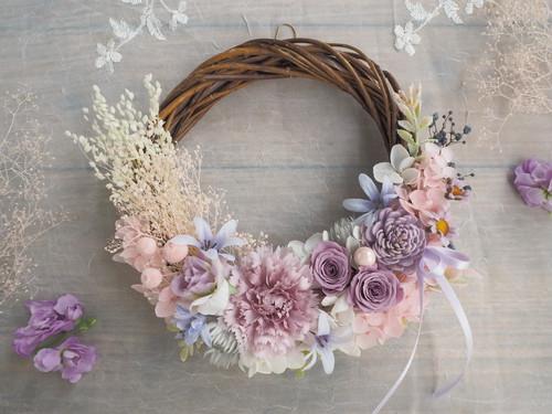Lune Bonheur Pastel  coton*受注制作*ハーフムーンリース*プリザーブドフラワー*お花*ギフト*結婚祝い*春リース*フラワーリース