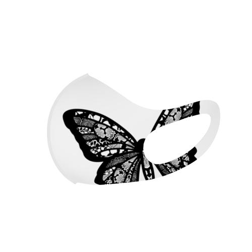 Black バタフライ 和柄ファッションマスク レギュラーサイズ