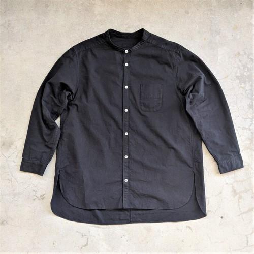 【生産中】<OSOCU> Chita-momen band collar shirt black dye 愛知の素材と技術で作る「伝統を日常で愉しむシャツ」