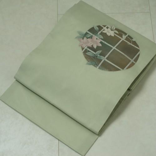 未使用【夏帯】絽 花柄 名古屋帯 正絹 白緑色 黄緑 156