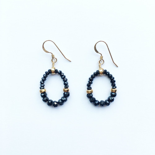 GRACE  Pierced Earrings|Black Spinel, 14KGF